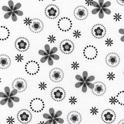 Cozy Cotton Flannel - Daises & circles in grey & black on white background