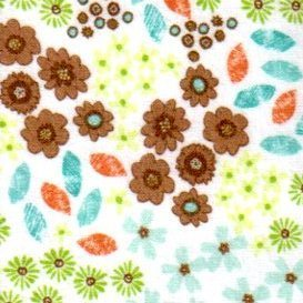 Flirty Birdies Flannel - brown, green, blue flowers & leaves on white background