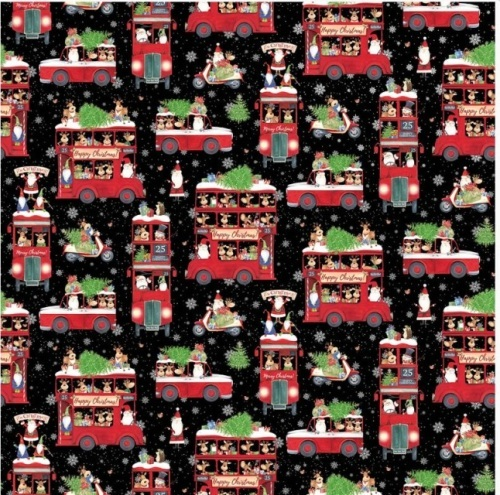 Double Decker Xmas - all over design with black background
