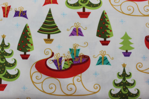 Holiday Cheer - off white background with Christmas items scattered over cotton