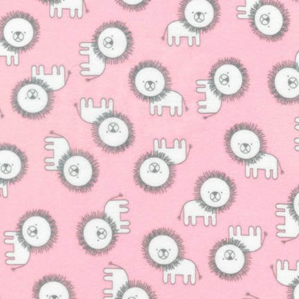 Penned Pals Flannel - white lions on pink background