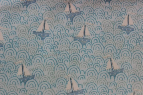 Itty Bitty Tossed Sail Boat Flannel - Sail boats and blue waves on blue background -