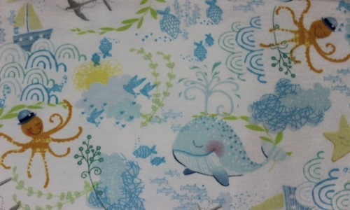 Itty Bitty Tossed Sea Flannel - Whales, octopus on white background -