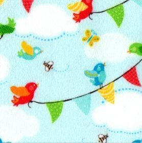 Noah's Ark Flannel - birds, bees, butterflies and flags on blue background
