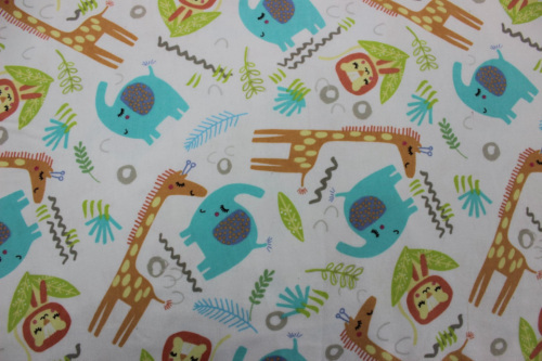 Playful Cuties 2 Flannel - zoo animals on white back ground