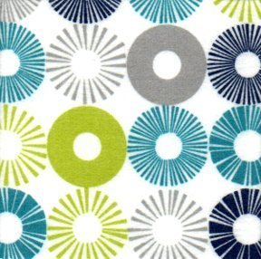 Cozy Cotton Flannel - blue, turquoise, green & grey circles on white background