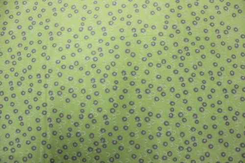 Playful Cuties 2 Flannel - Grey circles and white arcs on green background