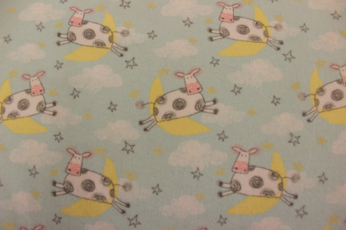 Playful Cuties 2 Flannel - The cow jumped over the moon