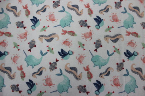 Playful Cuties 3 Flannel - Whales, sea horses & crabs