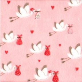 Sweet Baby Flannels - Storks on apricot background