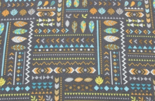 Teepee Time Flannel - Indian feathers & leaves on grey background