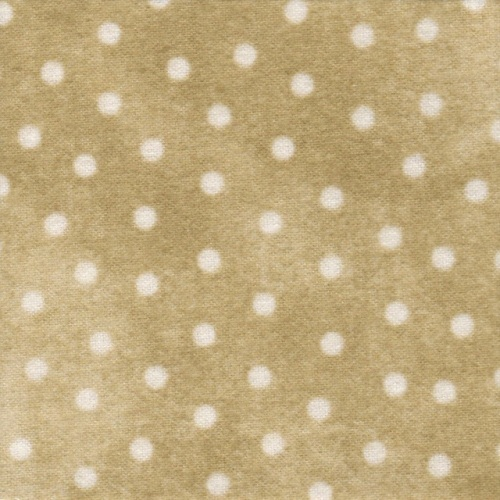 Woolies Flannel 2126 - taupe background with white spots