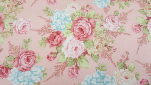 A Peaceful Garden Flannel - Large floral bouquets on pink background