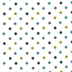 Cozy Cotton Flannel - Navy, green & teal spots on white background