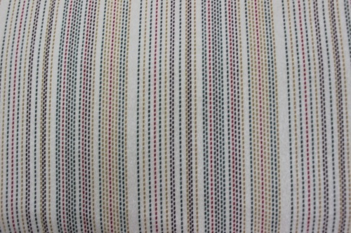 Wool & Flannel V - Multi coloured running stitch stripes on beige background