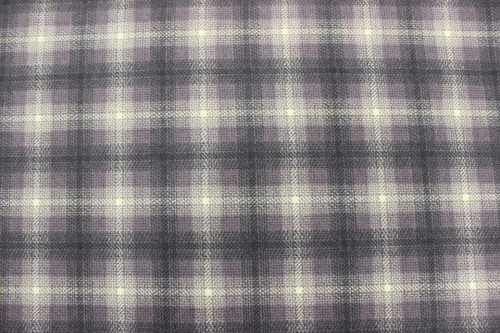 Wool & Needle V Flannel - Large aubergine and cream check