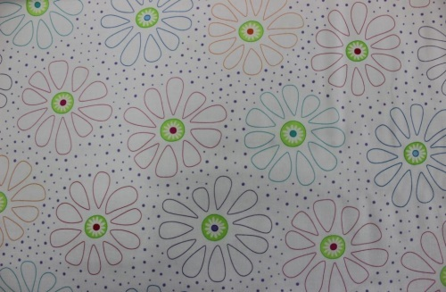 Bandana - large outlined daisies and purple dots on white background