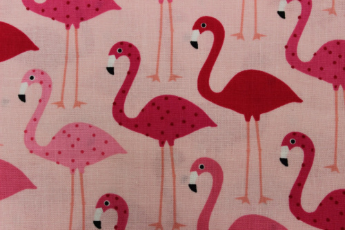 Urban Zoologie Minis Cotton - pink & red flamingos on pink background