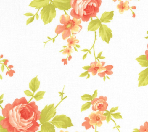 Chantilly Cotton - Large orange & apricot roses on white background