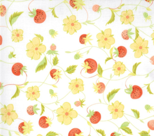 Chantilly Cotton - Strawberries and yellow flowers on white background