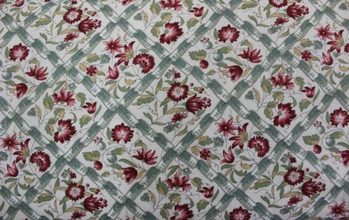 Jardin De Versailles Cotton - Gum green lattice floral