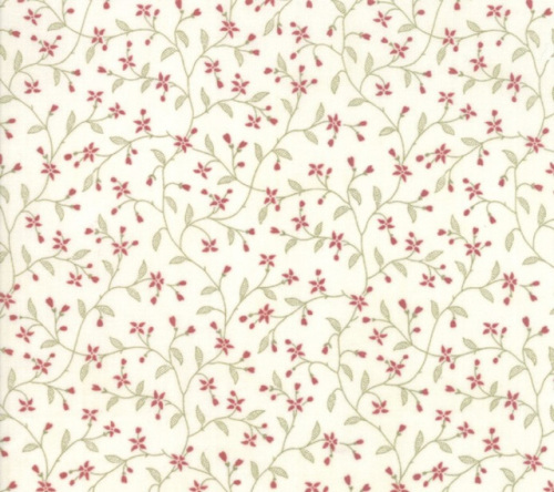 3 Sisters Memoirs Cotton - Small green & red sprigs on cream background