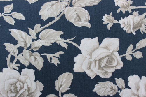 Regency Blues Cotton - Large cream roses on dark teale background