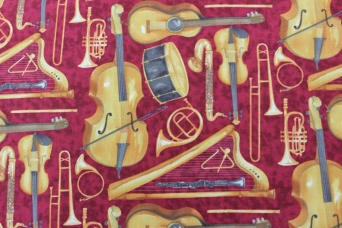 Maestro Cotton - Musical instruments on red background