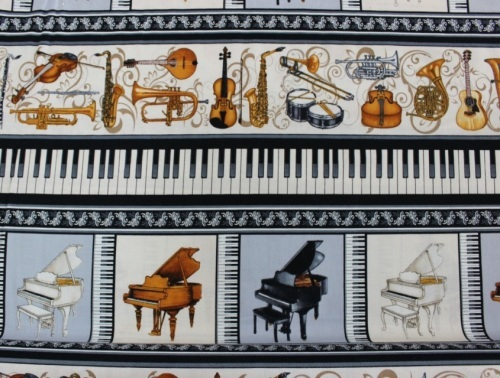 Perfect Pitch Cotton - Border print of piano's & musical instruments
