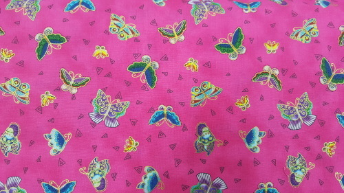 Feline Frolic Cotton - Bright butterflies on hot pink background