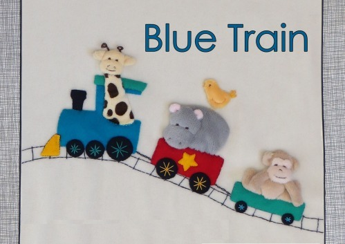 Blue Train - Kit includes pattern, full instructions, velour for animals and felt