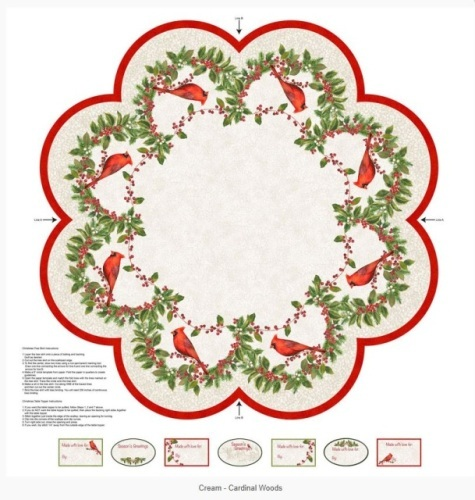 Cardinal Woods Panel - Tree Skirt or table topper. The circumference is 95cm. Panel comes with 7 Christmas tags.