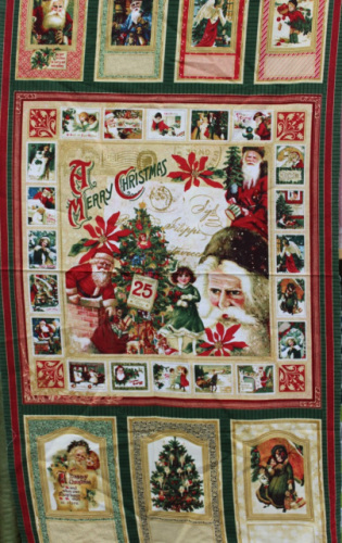 Christmas Past Graphic Panel - A large Santa design  with 6 smaller designs