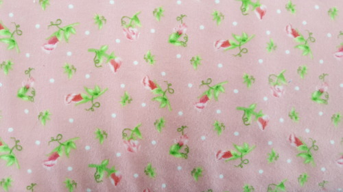 Sweet Pea Flannel - Sweet Pea buds on pink background