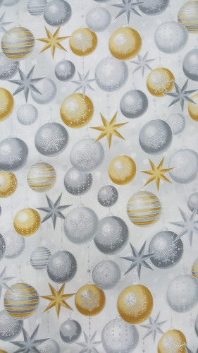 Winter's Grandeur - Silver & gold baubles on champagne background