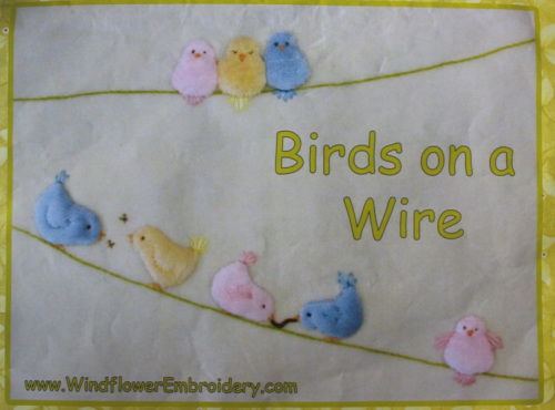 Birds on a Wire - Kit includes pattern, full instructions and velour for birds